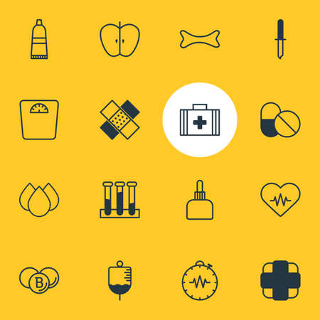 Vector Illustration Of 16 Health Icons. Editable Pack Of Experiment Flask, Weighing, Pipette And Other Elements.