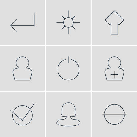 Vector Illustration Of 9 UI Icons. Editable Pack Of Sunshine, Yes, Female User And Other Elements.