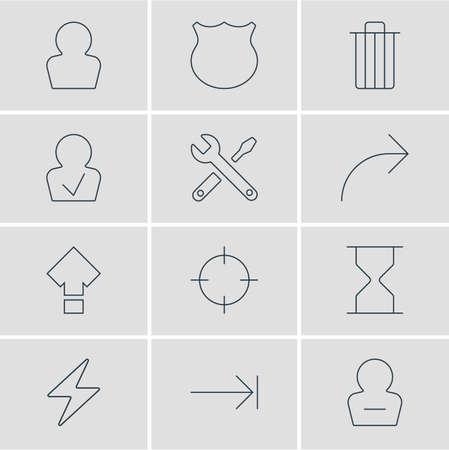 Ilustración vectorial de 12 iconos de interfaz de usuario. Pack editable de desplazamiento, protección, eliminar usuario y otros elementos.
