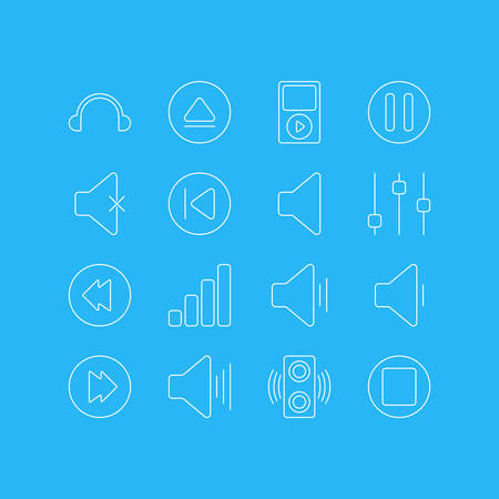 Vector Illustration Of 16 Melody Icons. Editable Pack Of Advanced, Reversing, Acoustic And Other Elements. Illustration