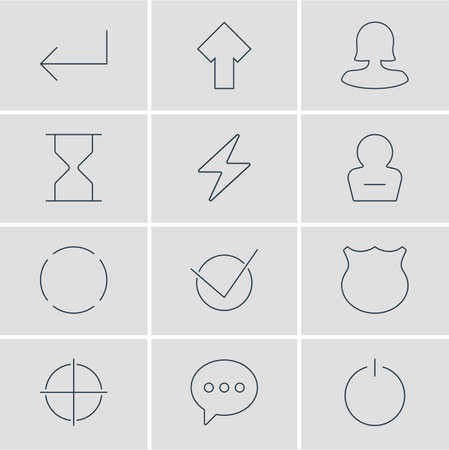 focalize: Vector Illustration Of 12 UI Icons. Editable Pack Of Switch Off, Remove User, Message And Other Elements. Illustration