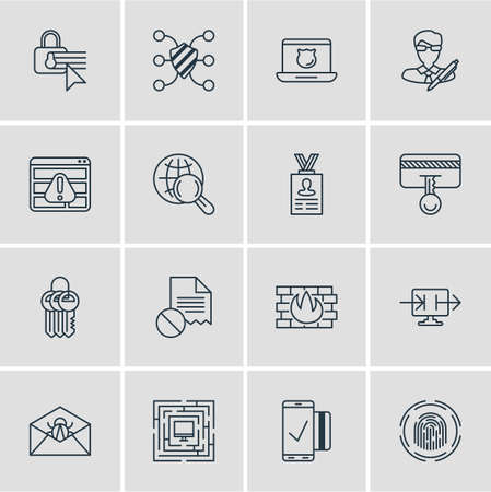 surname: Vector Illustration Of 16 Internet Security Icons. Editable Pack Of Easy Payment, Corrupted Mail, Safeguard And Other Elements. Illustration
