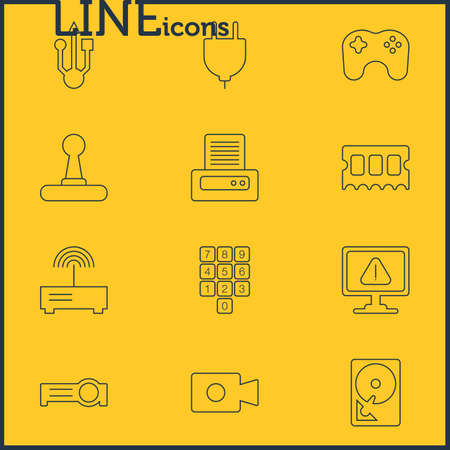 move controller: Vector Illustration Of 12 Notebook Icons. Editable Pack Of Warning, Router, Number Keypad And Other Elements.