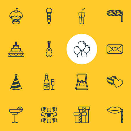 Illustration vectorielle de 16 icônes de la partie. Pack modifiable de Présent, Pâtisserie, Cap et autres éléments.