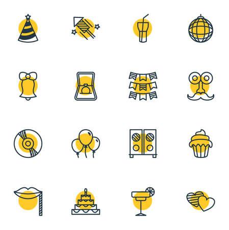 Illustration vectorielle de 16 icônes de partie. Pack modifiable de pétard, Cupcake, boisson non alcoolisée et d'autres éléments.