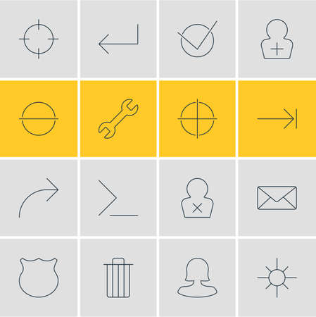 tabulation: Vector Illustration Of 16 UI Icons. Editable Pack Of Garbage, Register Account, Tabulation Button And Other Elements.