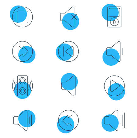 Vector Illustration Of 12 Melody Icons. Editable Pack Of Start, Soundless, Mp3 And Other Elements.