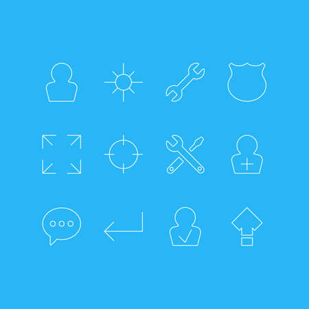 Vector Illustration Of 12 UI Icons. Editable Pack Of Avatar, Displacement, Accsess And Other Elements. Stock Vector - 77909078