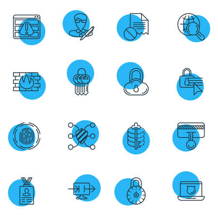 disallowed: Vector Illustration Of 16 Data Icons. Editable Pack Of Encoder, Safety Key, Confidentiality Options And Other Elements. Illustration