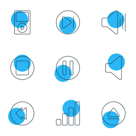 Vector Illustration Of 9 Melody Icons. Editable Pack Of Acoustic, Mp3, Lag And Other Elements. Illustration