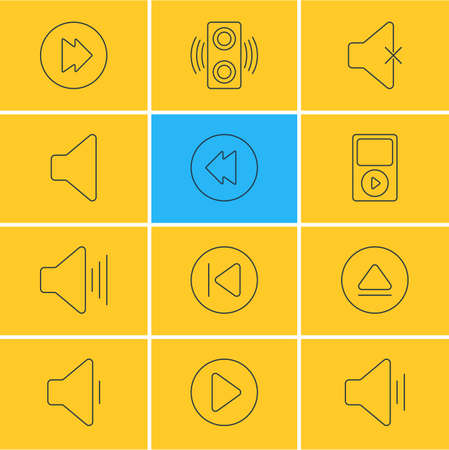 reversing: Vector Illustration Of 12 Melody Icons. Editable Pack Of Amplifier, Reversing, Mp3 And Other Elements.