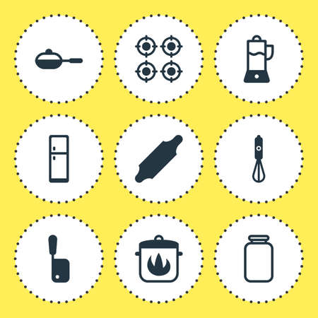 Vector Illustration Of 9 Kitchenware Icons. Editable Pack Of Furnace, Butcher Knife, Fruit Squeezer And Other Elements. Illustration