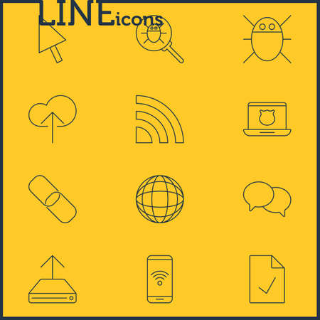 Vector Illustration Of 12 Web Icons. Editable Pack Of Hdd Sync, Bug, Wireless Network And Other Elements.