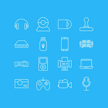 Vector Illustration Of 16 Device Icons. Editable Pack Of Media Controller, Photocopier, Floodlight And Other Elements.