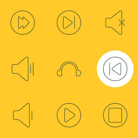 Vector Illustration Of 9 Music Icons. Editable Pack Of Subsequent, Preceding, Pause And Other Elements. Illustration