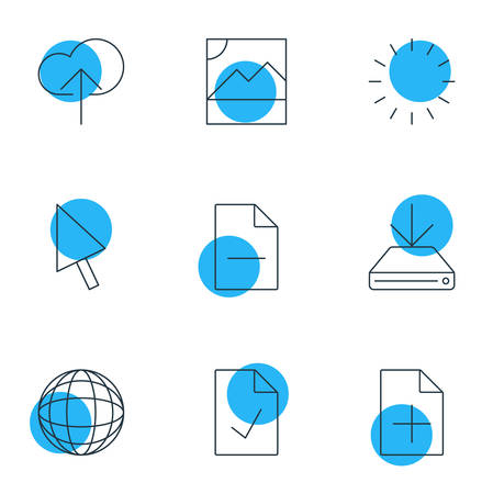 Vector Illustration Of 9 Web Icons. Editable Pack Of Checked Note, World, Pointer And Other Elements. Illustration