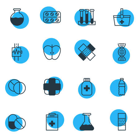Vector Illustration Of 16 Medical Icons. Editable Pack Of Experiment Flask, Patch, Heartbeat And Other Elements.