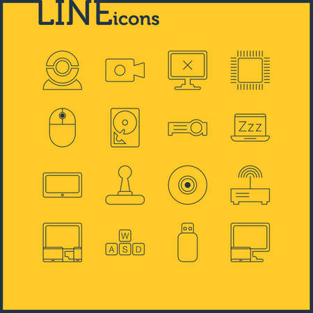 minicomputer: Vector Illustration Of 16 Computer Icons. Editable Pack Of Gadgets, Web Camera, Microprocessor And Other Elements.