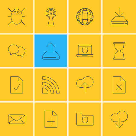 addition: Vector Illustration Of 16 Web Icons. Editable Pack Of Router, Sandglass, Letter Elements.