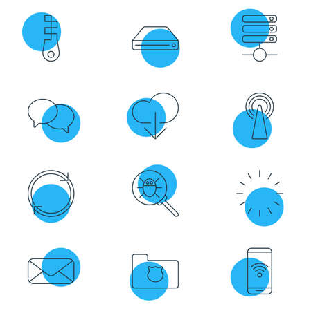 Vector Illustration Of 12 Web Icons. Editable Pack Of Waiting, Bug, Telephone And Other Elements. Illustration