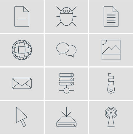 removing: Vector Illustration Of 12 Network Icons. Editable Pack Of Fastener, Pointer, Removing File And Other Elements.