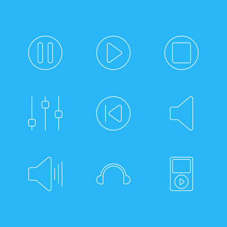 Vector Illustration Of 9 Melody Icons. Editable Pack Of Stabilizer, Preceding, Speaker And Other Elements.