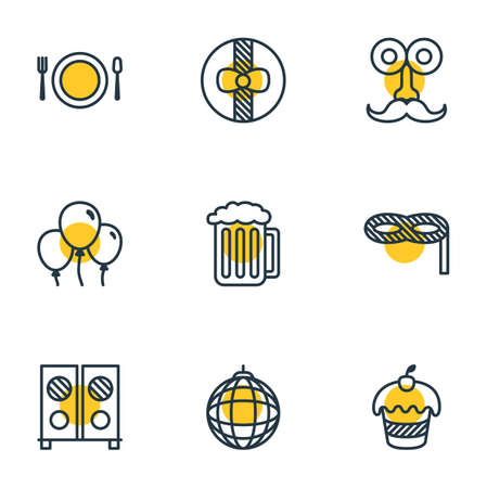 Vector Illustration Of 9 Feast Icons. Editable Pack Of Decoration, Muffin, Cutlery And Other Elements.