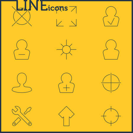 Vector Illustration Of 12 User Interface Icons. Editable Pack Of Register Account, Remove User, Approved Profile And Other Elements.