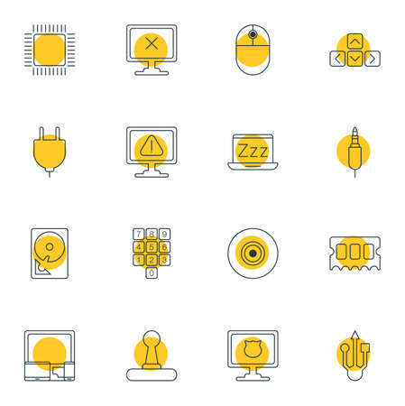 minicomputer: Vector Illustration Of 16 Computer Icons. Editable Pack Of Socket, Hard Drive Disk, Antivirus And Other Elements.
