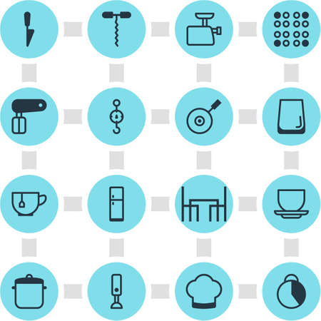 Vector Illustration Of 16 Kitchenware Icons. Editable Pack Of Skillet, Whisk, Chef Hat And Other Elements. Illustration