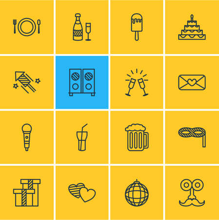 patisserie: Vector Illustration Of 16 Party Icons. Editable Pack Of Soul, Man Style, Karaoke And Other Elements.