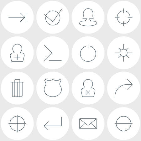 Vector Illustration Of 16 User Interface Icons. Editable Pack Of Register Account, Sunshine, Accsess And Other Elements. Illustration