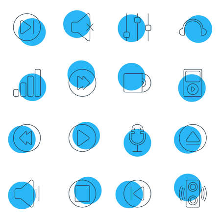 Vector Illustration Of 16 Music Icons. Editable Pack Of Earphone, Pause, Advanced And Other Elements.