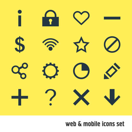 Vector Illustration Of 16 User Icons. Editable Pack Of Emotion, Cogwheel, Pen And Other Elements.