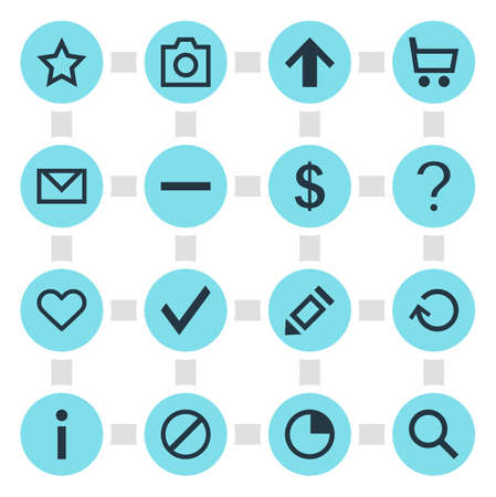 Vector Illustration Of 16 Interface Icons. Editable Pack Of Top, Asterisk, Seek And Other Elements.