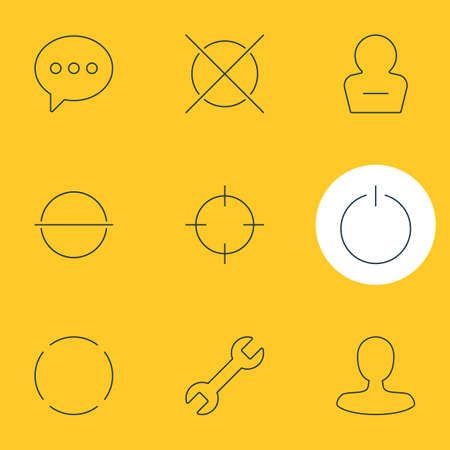 Vector Illustration Of 9 User Interface Icons. Editable Pack Of Remove User, Man Member, Wrench And Other Elements.