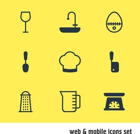 washstand: Vector Illustration Of 9 Cooking Icons. Editable Pack Of Washstand, Chef Hat, Breakfast Elements.