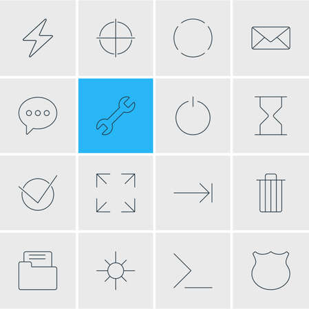 tabulation: Vector Illustration Of 16 UI Icons. Editable Pack Of Hourglass, Guard, Tabulation Button And Other Elements.