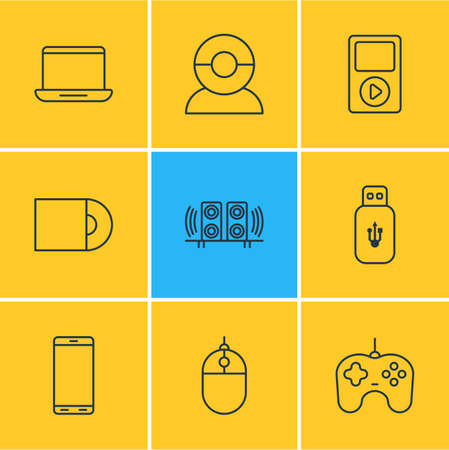 Vector Illustration Of 9 Device Icons. Editable Pack Of Loudspeaker, Media Controller, Smartphone And Other Elements. Çizim