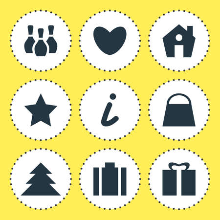 position d amour: Vector Illustration Of 9 Map Icons. Editable Pack Of Present, Bookmark, Skittles And Other Elements.