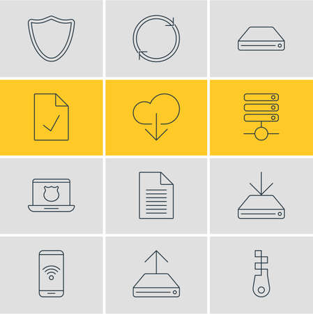 wap: Vector Illustration Of 12 Network Icons. Editable Pack Of Telephone, Server, Information Load And Other Elements. Illustration