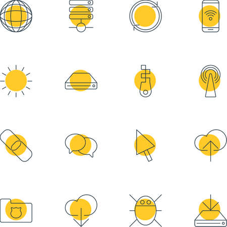 repeatability: Vector Illustration Of 16 Network Icons. Editable Pack Of Cloud Download, Fastener, Computer Virus And Other Elements.