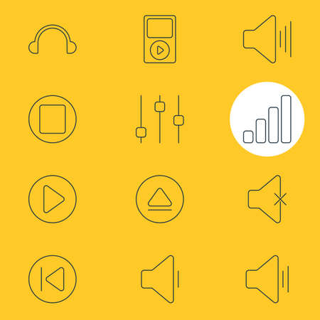 Vector Illustration Of 12 Music Icons. Editable Pack Of Soundless, Rewind, Pause And Other Elements. Illustration