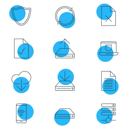 12: Vector Illustration Of 12 Internet Icons. Editable Pack Of Server, Hard Drive Disk, Telephone And Other Elements.