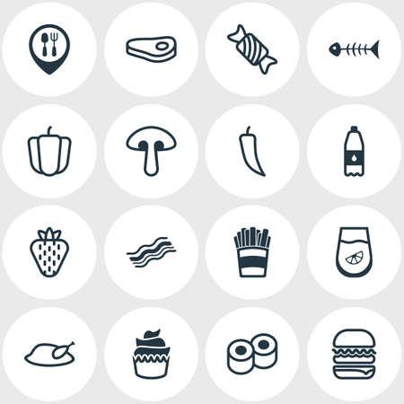 Illustration vectorielle de 16 icônes de plat. Paquet modifiable de saumon, de jambon, de jus et d'autres éléments. Banque d'images - 77919508