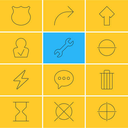 focalize: Vector Illustration Of 12 Interface Icons. Editable Pack Of Garbage, Share, Positive And Other Elements.