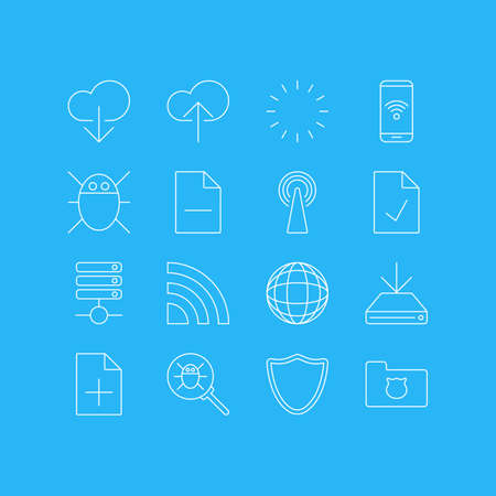 wap: Vector Illustration Of 16 Network Icons. Editable Pack Of Privacy Doc, Safeguard, Computer Virus And Other Elements. Illustration