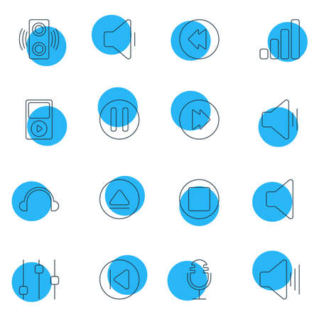 Vector Illustration Of 16 Melody Icons. Editable Pack Of Audio, Preceding, Reversing And Other Elements. Illustration