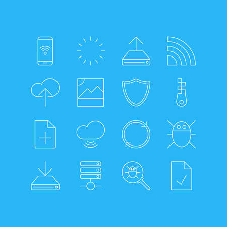 wap: Vector Illustration Of 16 Network Icons. Editable Pack Of Cloud Download, Photo, Document Adding And Other Elements.