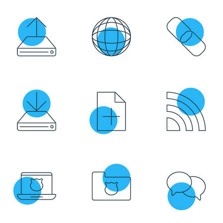 wap: Vector Illustration Of 9 Web Icons. Editable Pack Of Information Load, Document Adding, World And Other Elements. Illustration